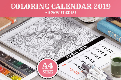 Coloring Book Xmas Calendar 2019 PDF, EPS, JPEG, PNG