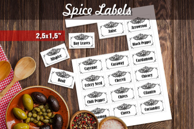Black & White Vintage Herbs and Spices Labels
