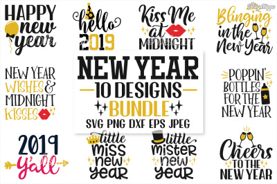 New Year's Eve Bundle, 10 SVG PNG EPS DXF JPEG, Cutting Files