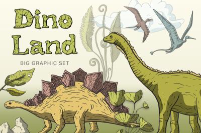 Dino Land. Big graphic set.