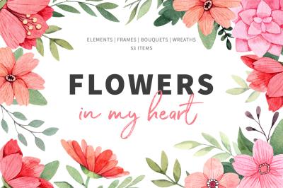 Flowers in my heart. Watercolor set