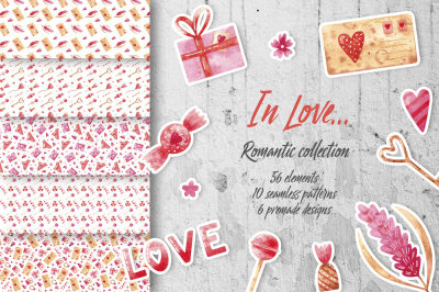In Love... Romantic watercolor collection for Valentine's day