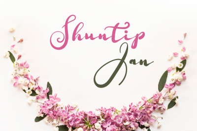 Shuntip Jan script font by watercolor floral designs