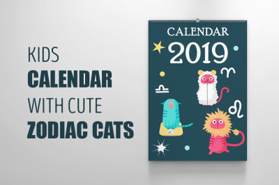 Kids calendar with cute zodiac cats