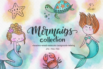 Mermaids watercolor collection