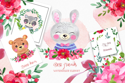 Best friends. Forest clipart