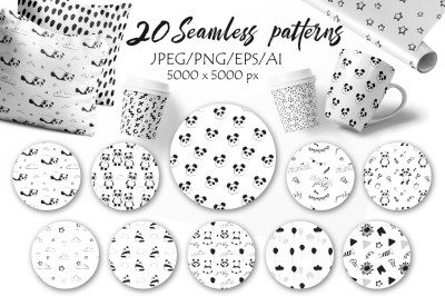 Black & White seamless patterns with cute pandas