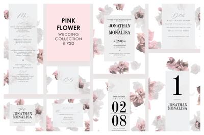 Pink Flower Wedding Invitation Set