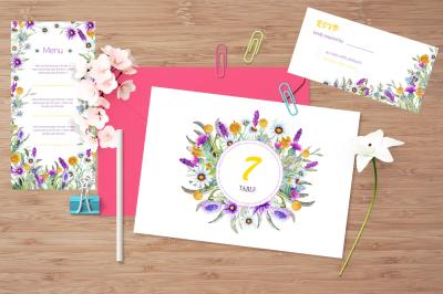 Wedding templates  of wild flowers. Handmade, watercolor.