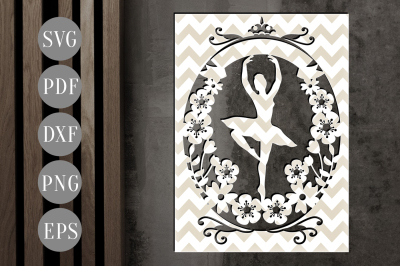 Customizable Ballerina Papercut Template, Floral Card SVG, DXF, PDF