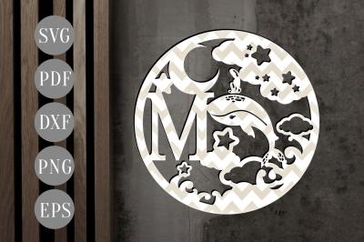 Letter M Monogram Papercut SVG