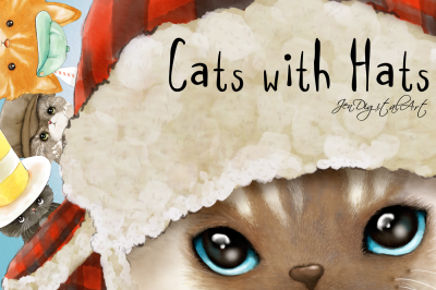 Cats with Hats | 4 Original Clip Art Illustrations | PNG/JPEG