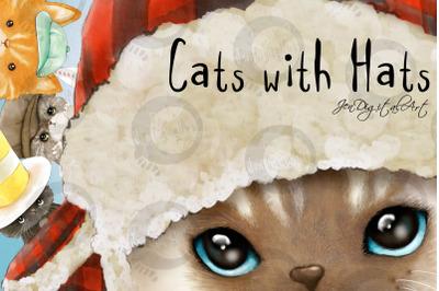 Cats with Hats | 4 Original Clip Art Illustrations | PNG/JPEG