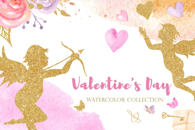 Valentine's Day. Watercolor collection.