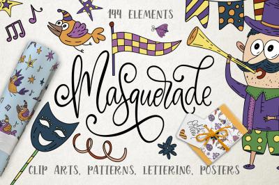 Masquerade. Mardi Gras graphic pack.