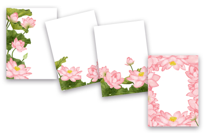 4 Lotus Pound Watercolor Backgrounds