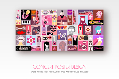Concert Poster design vector illustration