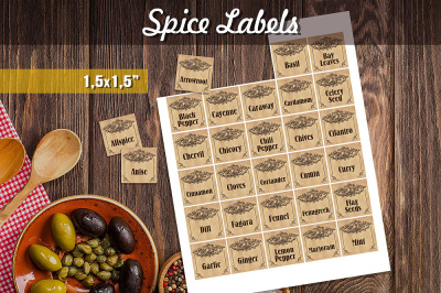 Vintage Herbs and Spices Labels