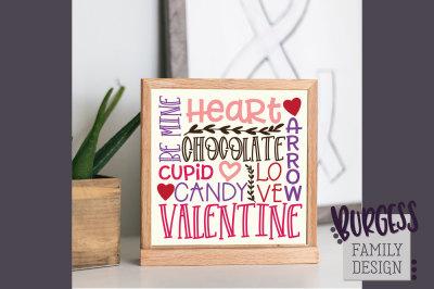 Square Valentine's Day Subway Art | Cut file