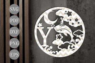 Letter Y Monogram Papercut Template SVG