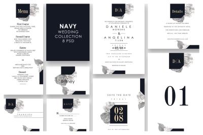 Navy Wedding Invitation Set
