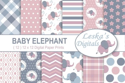 Baby Elephant Digital Paper Patterns In Pink & Grey