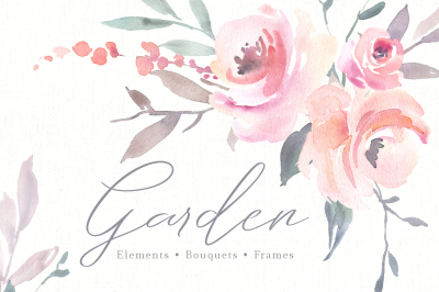 Pink Watercolor Flowers, Bouquets, Frames PNG