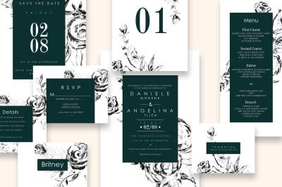 Black & Green Wedding Invitation Set