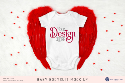 Baby Bodysuit on Red Wings mock up for Valentine's, Love styled photo