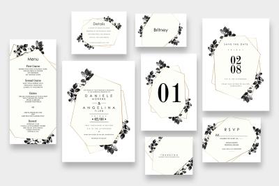 Modern black Foliage Wedding Suite