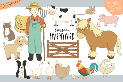 Cartoon Farmyard Clip Art Illustrations | 15 Images -PNG/JPG
