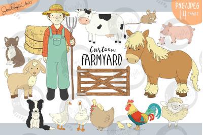 Cartoon Farmyard   Clip Art Illustrations   15 Images -PNG/JPG