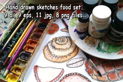 Hand drawn sketch food set.