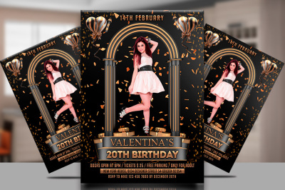 Birthday Party Flyer with Photo template
