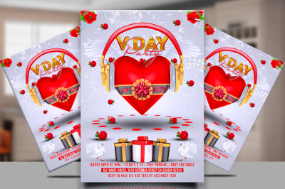 Red and White Valentine's Day Party Flyer Template