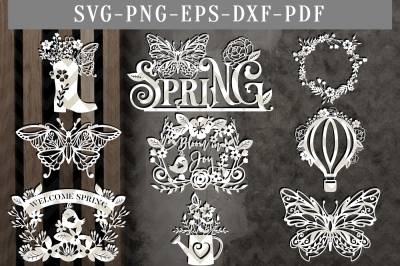 SpringPapercut Template Bundle, Spring Clipart SVG, DXF, PDF