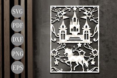 Unicorn Fantasy Papercut Template, Castle Clipart SVG, DXF, PDF