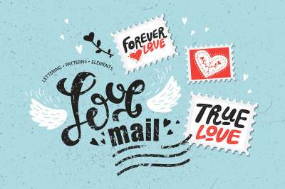 Love mail. Graphic set