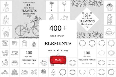 Hand Drawn Logo Elements 4 in 1