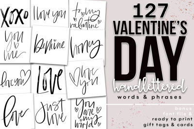 Valentine's Day Handlettered Words & Phrases - Clip Art, Font + More
