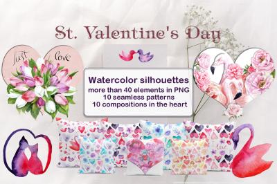 Watercolor Valentine's Day