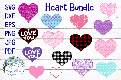 Heart Bundle | Plaid, Distressed, Mermaid, Mandala, Zentangle