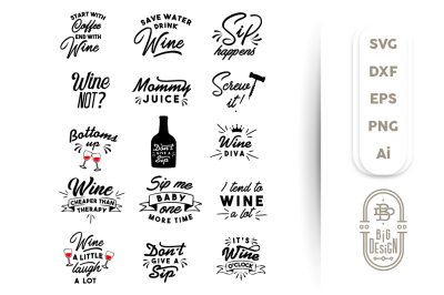 Wine Svg Bundle - 16 X Designs for Wine Lovers