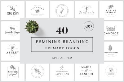 Feminine Branding Premade Logos V01