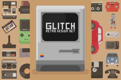 Glitch Retro Design set