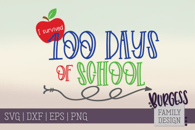 I survived 100 days of school | Cut file