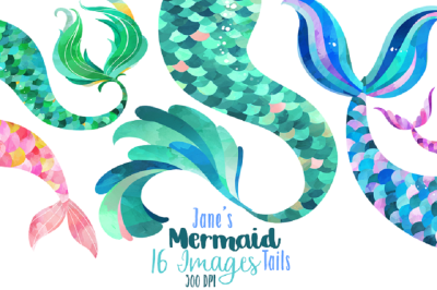 Watercolor Mermaid Tails Clipart