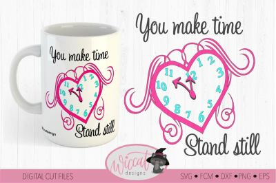 Valentine Clock Heart svg, Love quote svg,