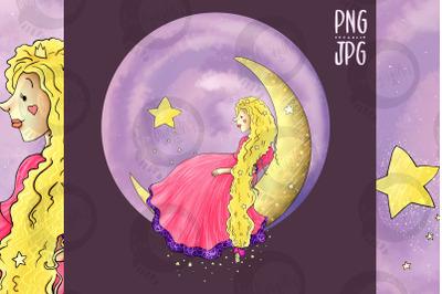 Princess on the Moon   Clip Art Illustration   JPG/PNG