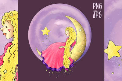 Princess on the Moon | Clip Art Illustration | JPG/PNG